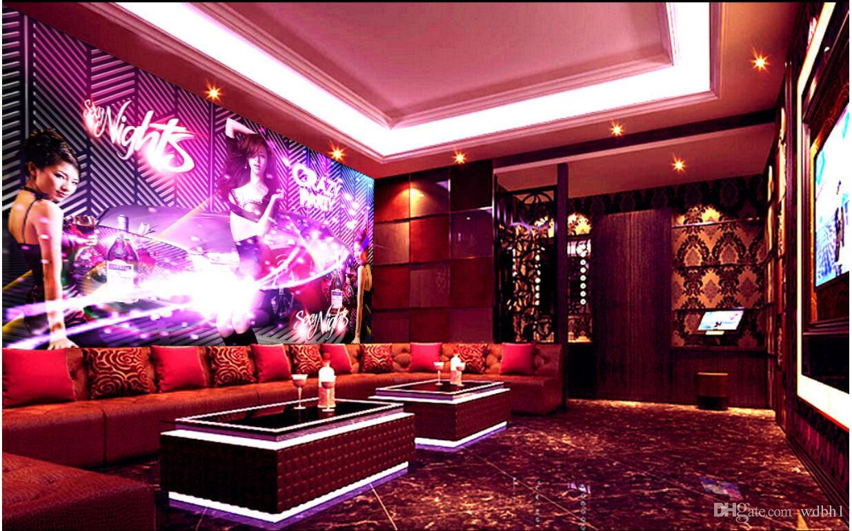 3d Wallpaper Custom Photo Three Sexy Girls Bar Club Ktv