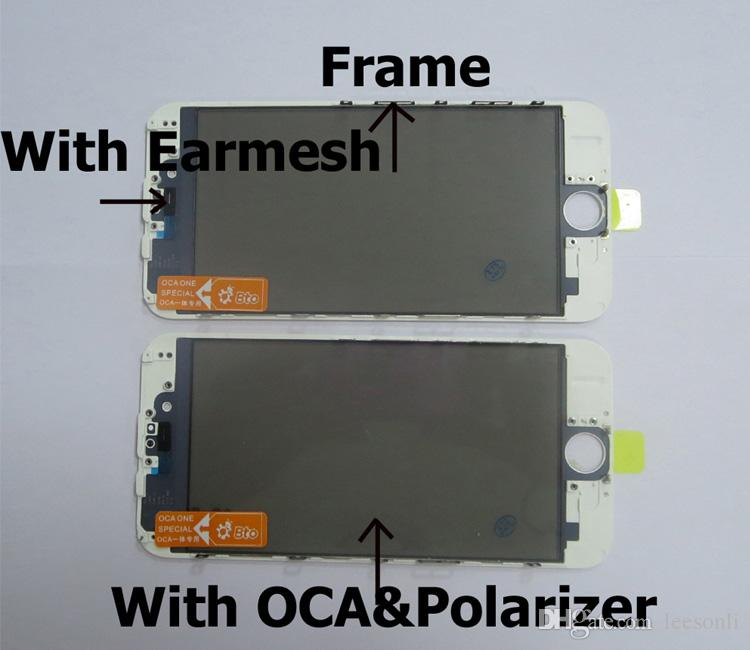 Top qualität 50 stücke für iphone 6g vorinstallieren reparatur frontglas mit rahmen + ca + polarisator film rissige glas renovieren