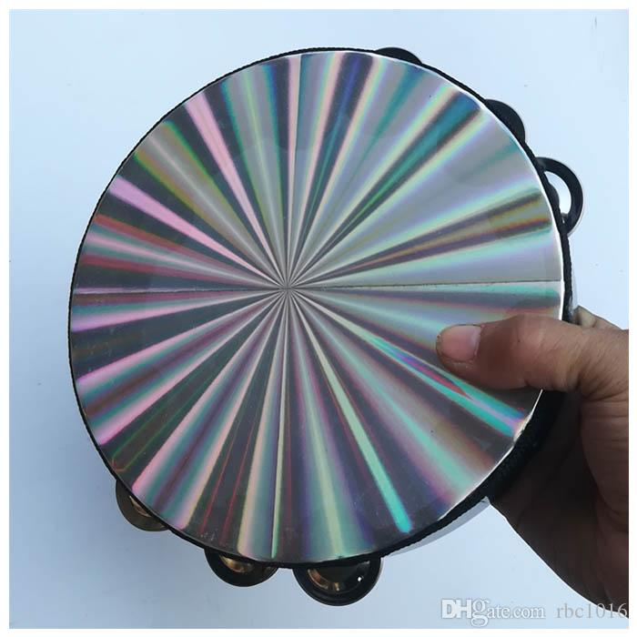 Patern láser reflectante de pandereta de 8 pulgadas, Jingles de doble fila de diseño a cuadros de 10 pulgadas