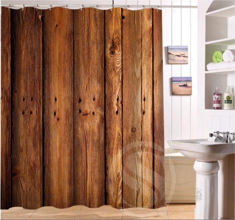 2018 Old Wood Custom Shower Curtain Fabric Bath Curtain High Quality ...