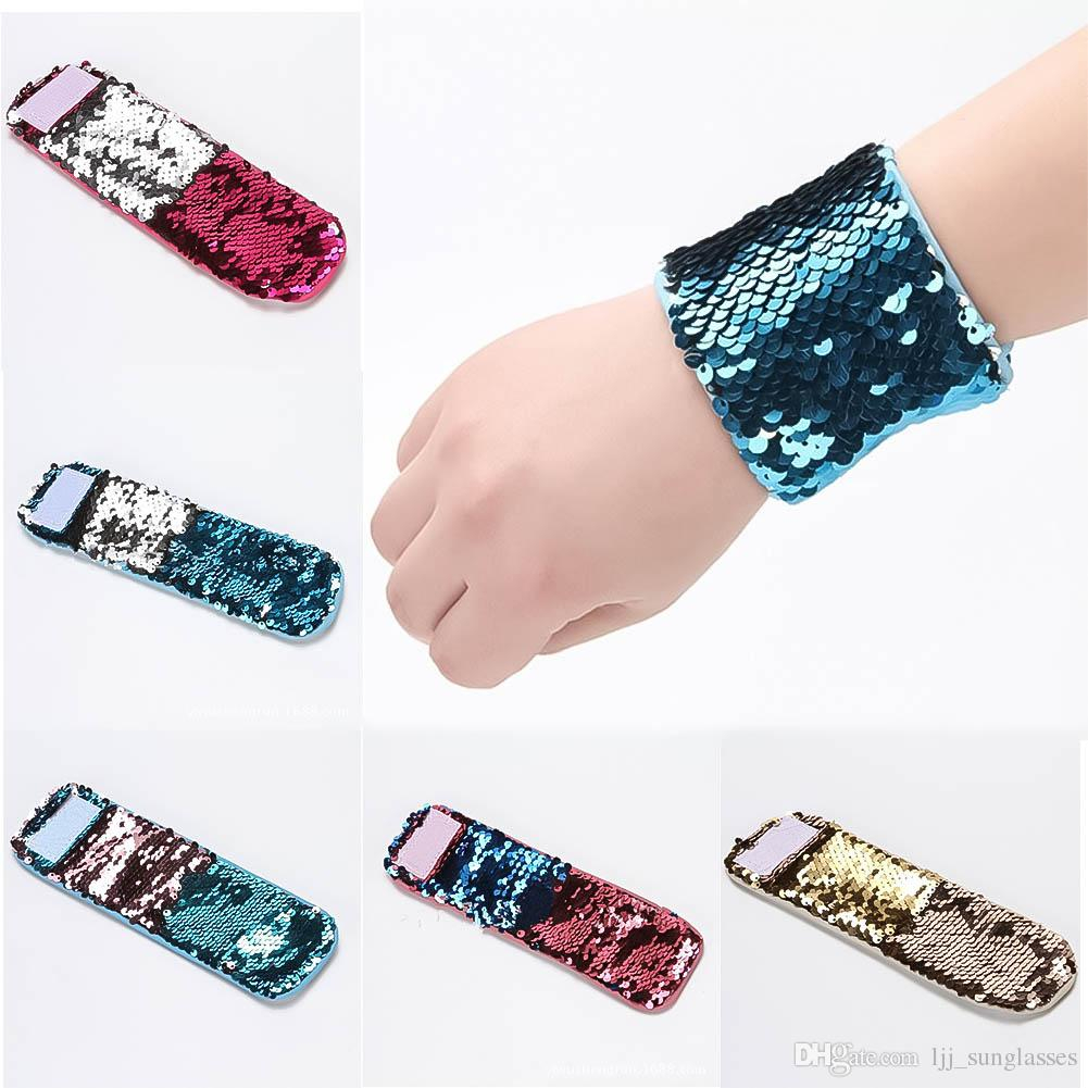 Mermaid Sequin Bracelet Wristband Cuff Sequins Bracelets Women Charm ...