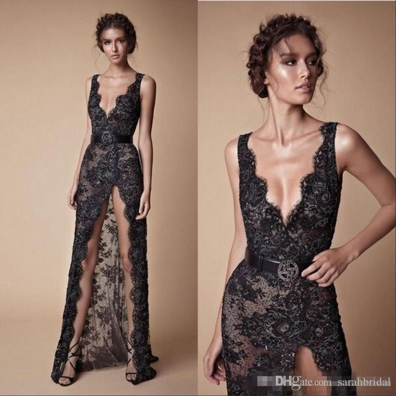 Sexy Black Lace Beaded Split Prom Pageant Dresses 2018 Modest Fashion V-neck Sexy Full length Berta Evening Occasion Dress