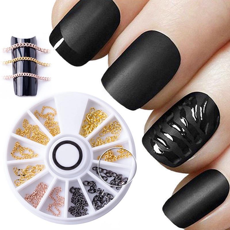 Nail Art Wheel Chain Hollow Metal Decoration Jewelry Accessories Strip Line  DIY Design Punk 3D Tips UV Gel Polish Tools Manicure Fake Nails Nail Design  ... a827ac91c88c