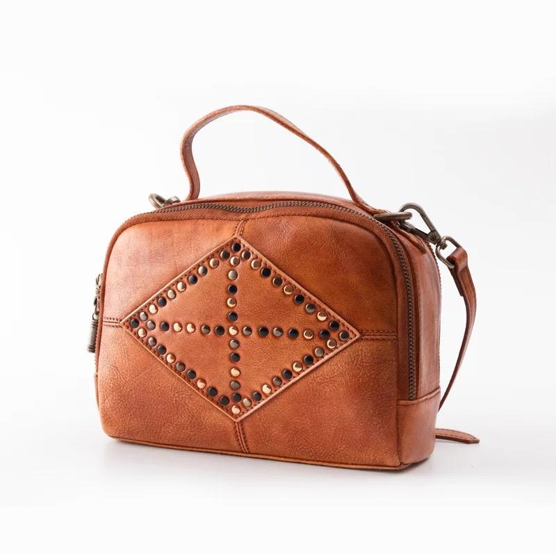 Hand Painted Designer Genuine Leather Women Small Sling Bag Lady Studs Handbag  Zipper Closure Cowhide Female Cross Shoulder Bag Mens Leather Bags Laptop  ... b995f9b133bd9