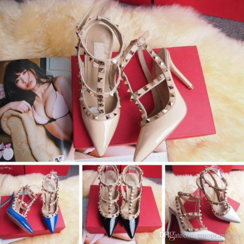 871eb63ddcb1 Female High Heels Party Fashion Rivets Girls Sexy Pointed Shoes ...