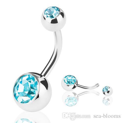 Mujeres anillos del botón del vientre joyería piercing del cuerpo doble anillo del ombligo de cristal de acero inoxidable joyería del botón del vientre libre DHL G96L