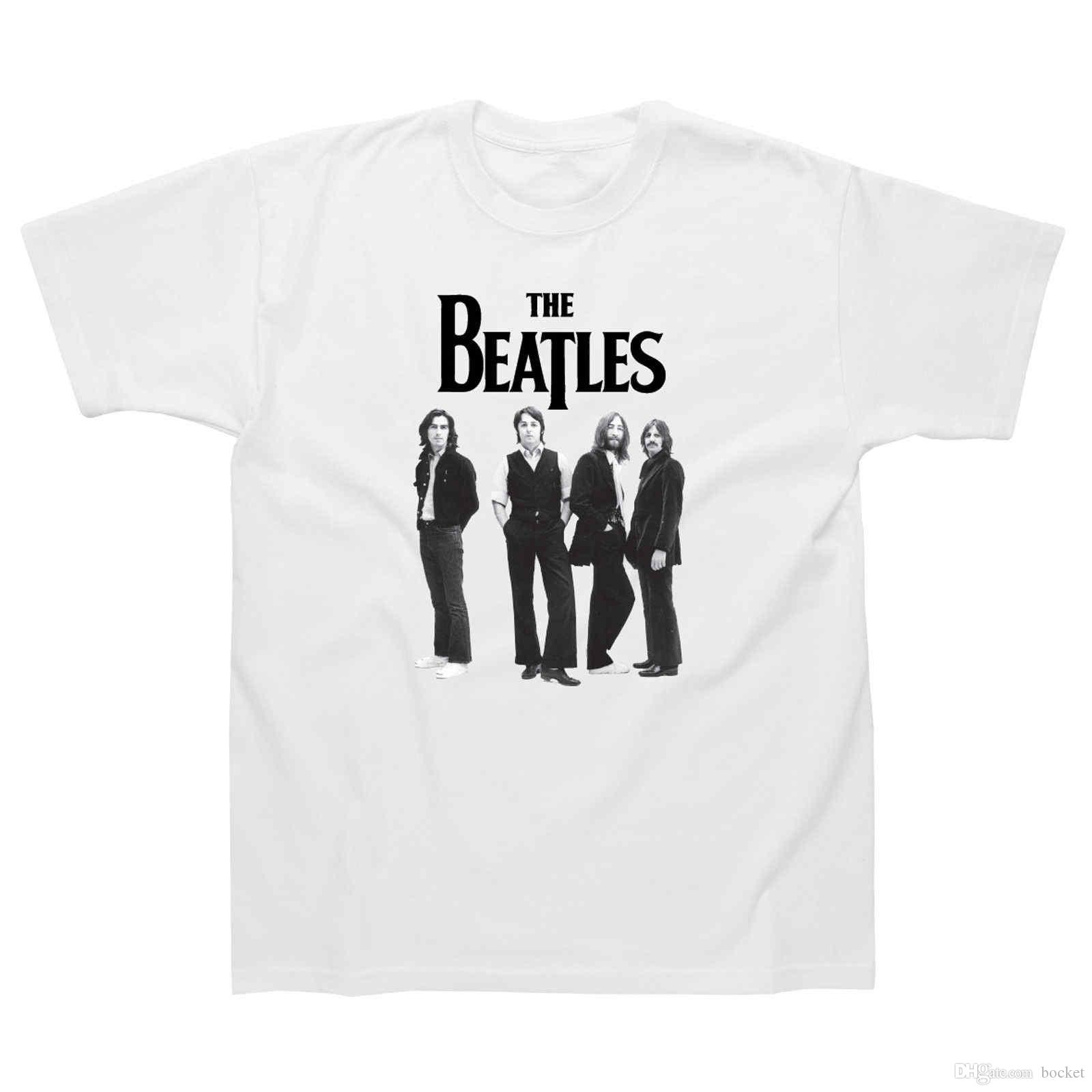 cc957cfd The Beatles Standing Photo T Shirt Official Mens White Classic Rock Music  Tee Cool Tee Shirts Cheap Business Tee Shirts Printing From Tshirt4you, ...