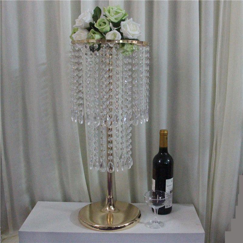 Brins de perle acrylique pièce maîtresse de mariage or, 60 cm de hauteur acrylique fleur de cristal stand pour le décor de table de mariage.