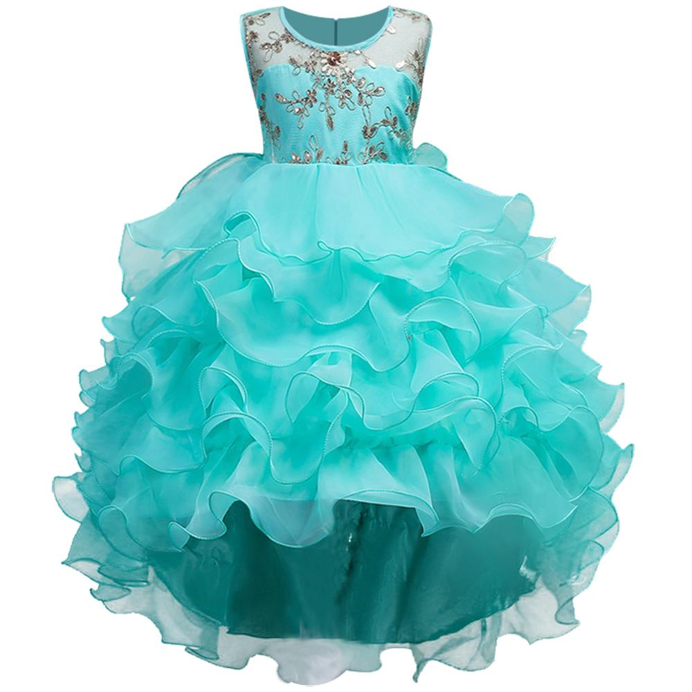 Sequins embroidery Girls Princess Children Christmas girl dress For Wedding 2-14 Years teenager Party Prom Dresses