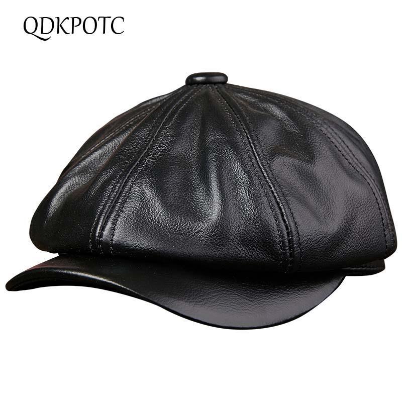 3c77cfdd QDKPOTC 2018 Men's Real Genuine Cow Leather Brand Newsboy /Beret Hat ...