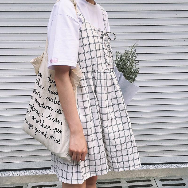 b3ba0a1404edc 2018 Women S Kawaii Summer College Sweet Was Thin Strap Plaid Long Section  Of Students Lovely Dress Female Cute Korean Harajuku
