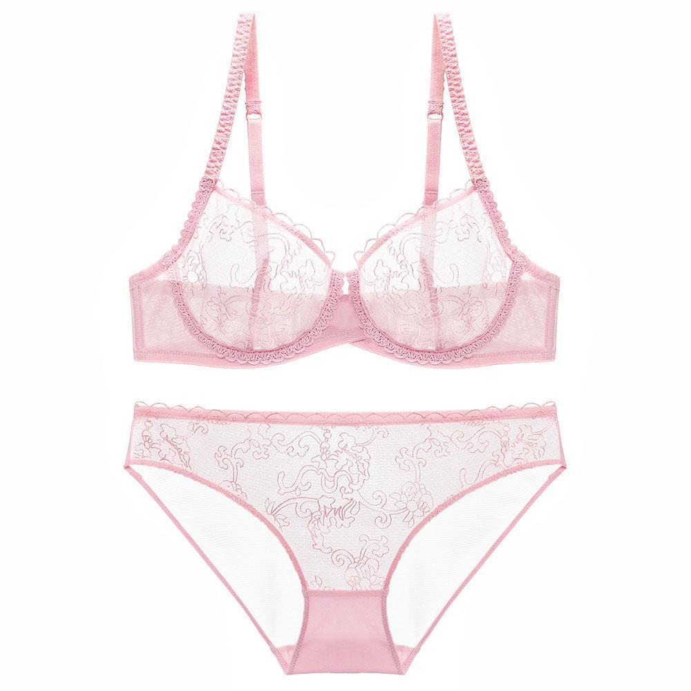 d515918aa Compre Conjunto De Lingerie Sexy Lace Bordado Cueca Transparente Malha Sutiã  E Calcinha 3 4 Copo Ultra Fino 70 85 B C Íntimos Para As Mulheres Senhora  De ...