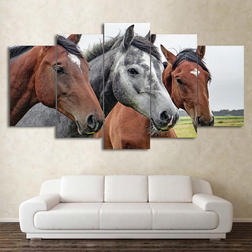 HD Baskılı 5 Parça Tuval Sanat Kahverengi ve Gri Atlar Boyama Çerçeveli Oturma Odası Ücretsiz Nakliye için Modüler Duvar Resimleri CU-2255B