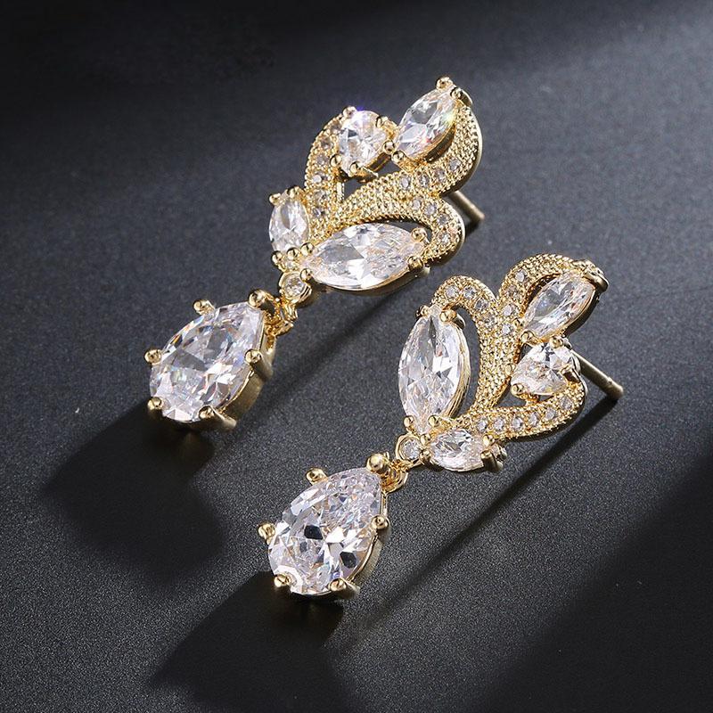 Ridal Earrings Drop SLBRIDAL Pave Setting AAA Grade CZ Wedding Drop ... 758b6a585b34
