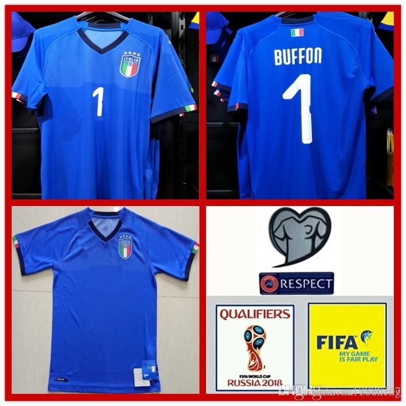 2019 2018 WORLD CUP Buffon Italy Soccer Jerseys National Team Verratti Home  Away Italia Soccer Shirt IMMOBILE EL SHAARAWY Italian Football Jersey From  ... 0f315509a