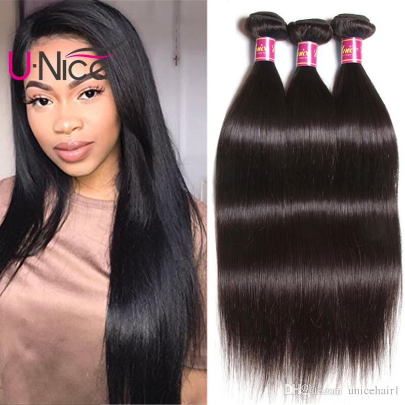 UNice Hair Peruvian Straight Hair 4 Bundles Brazilian Virgin Human Hair Extensions Raw Indian Weave Bundles Malaysian 8-30inch Wholesale