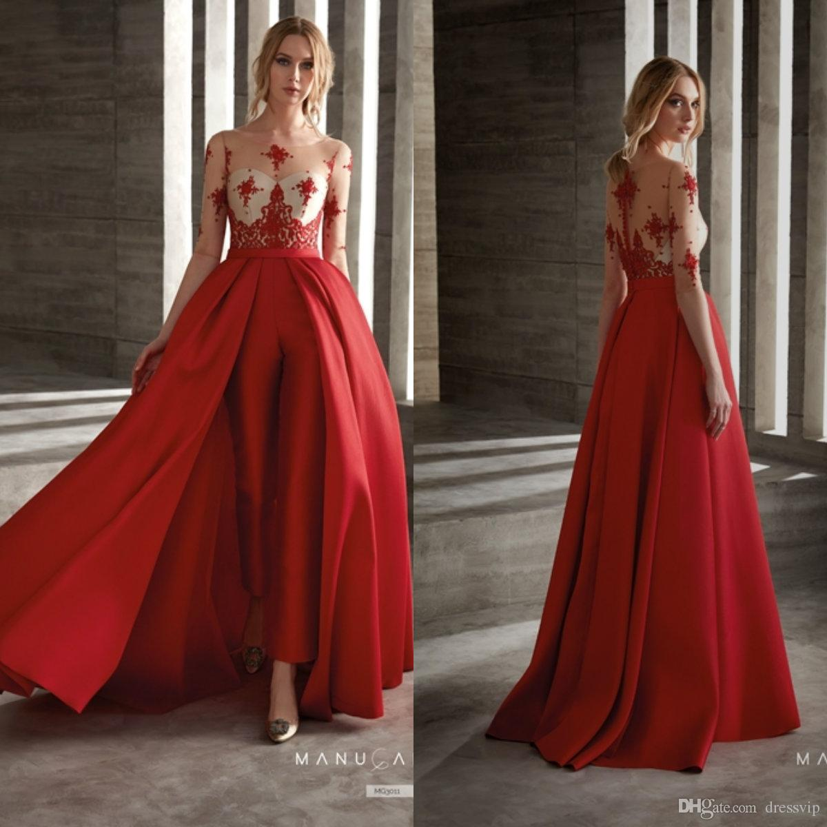 a064ae19b98 Red Prom Dresses With Detachable Skirt Satin Fashion Women Jumpsuit Half  Long Sleeve Cocktail Dress Party Wear Custom Made Evening Gowns Wholesale  Prom ...