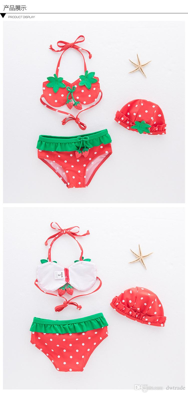 Cute Girls Strawberry Lace-Up Halter Hanging Neck Maillots de bain avec chapeau 3 Ensembles Bikini Spa Maillot de bain Fresh Sling Swimwear