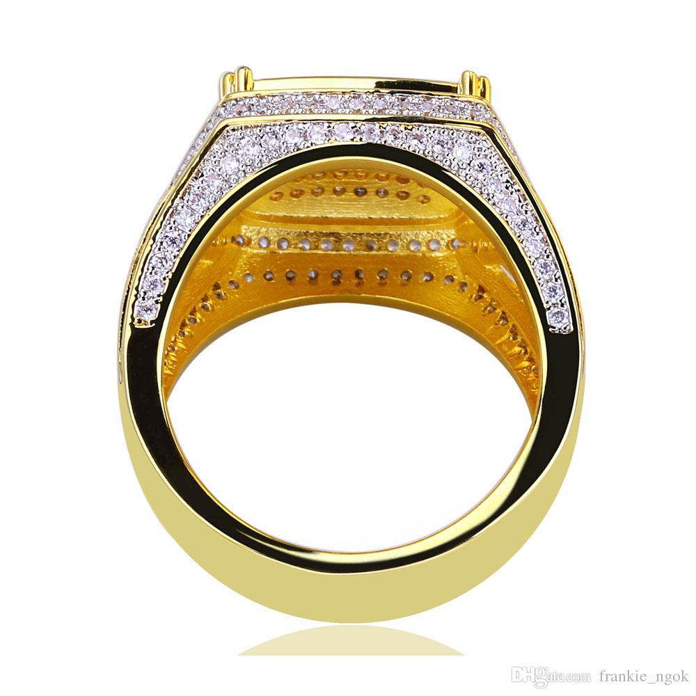 빈티지 구리 반지 반짝이는 마이크로 입방 지르코니아 진짜 금 도금 반지 남자를위한 펑크 손가락 액세서리 힙합 랩퍼 쥬얼리 선물 크기 7-11