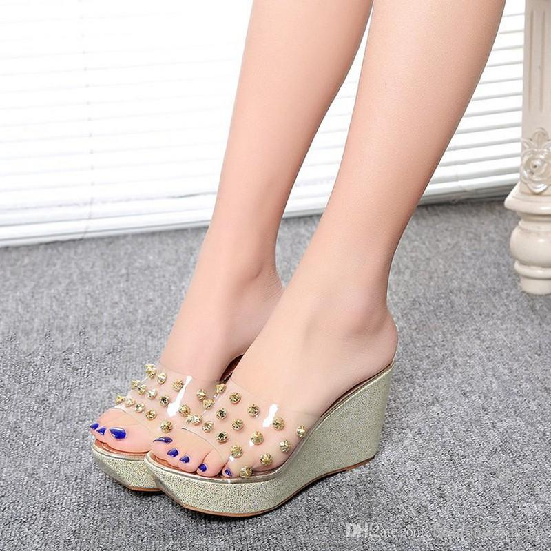 ffb5e03e2 Designer Korean Summer Wedges Heels Clear PVC Open Toe Glitter Women High  Heel Wedge Shoes Jelly Womens Sandals Wedges Shoes Prom Shoes Silver Shoes  From ...