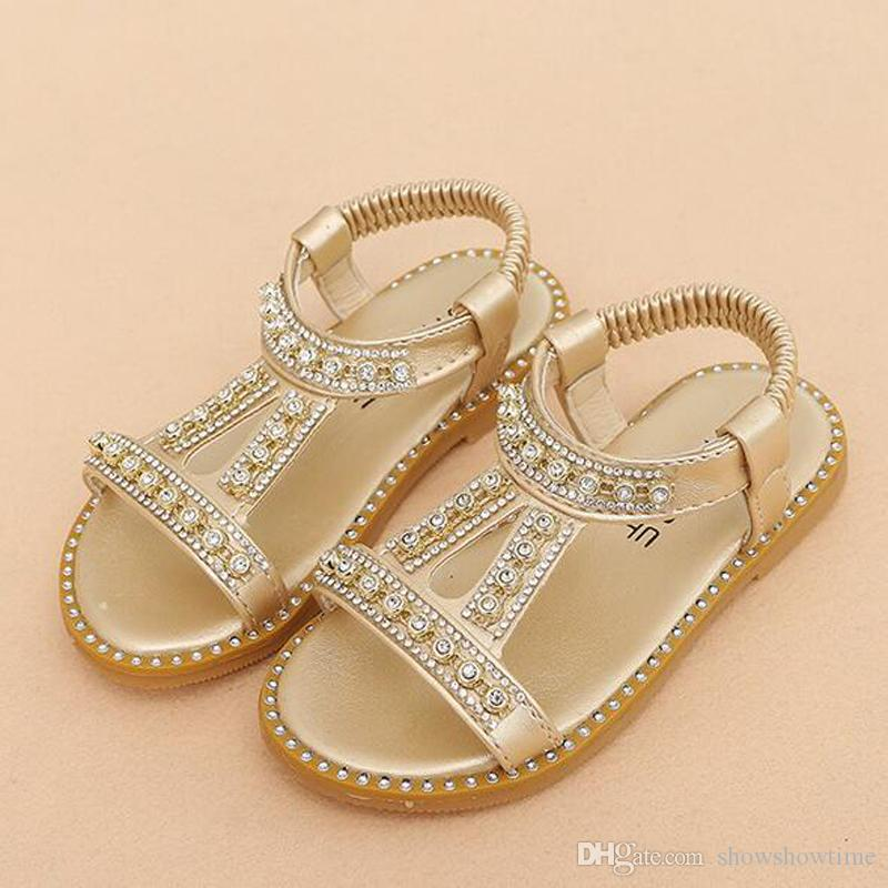 2018 Summer Korean Style Bling Bling Crystal Beaded Girl Shoes Newest Princess Luxury Girl's Sandals Kids Cheap Shoes 3 Colors