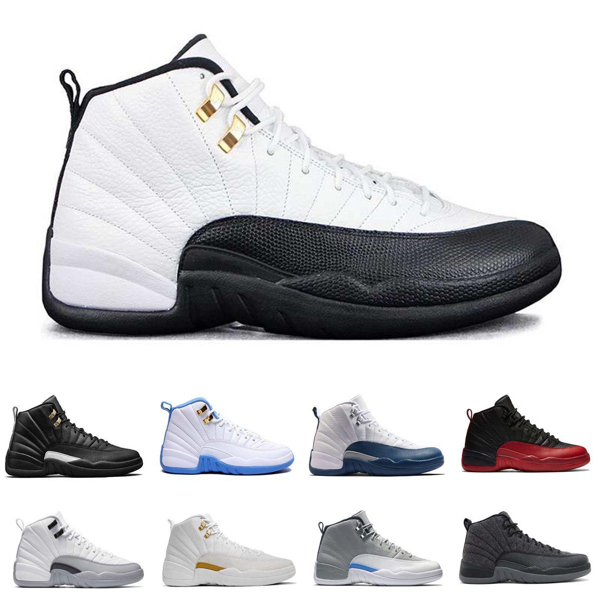 detailed look 5946f b79fd Acquista Nike AIR JORDAN Retro 12 Aj Basketball 2018 Mens Scarpe Da Basket 12  12s TAXI Playoff BLAck Flu Gioco Cherry 12s XII Uomini Sneakers Stivali ...