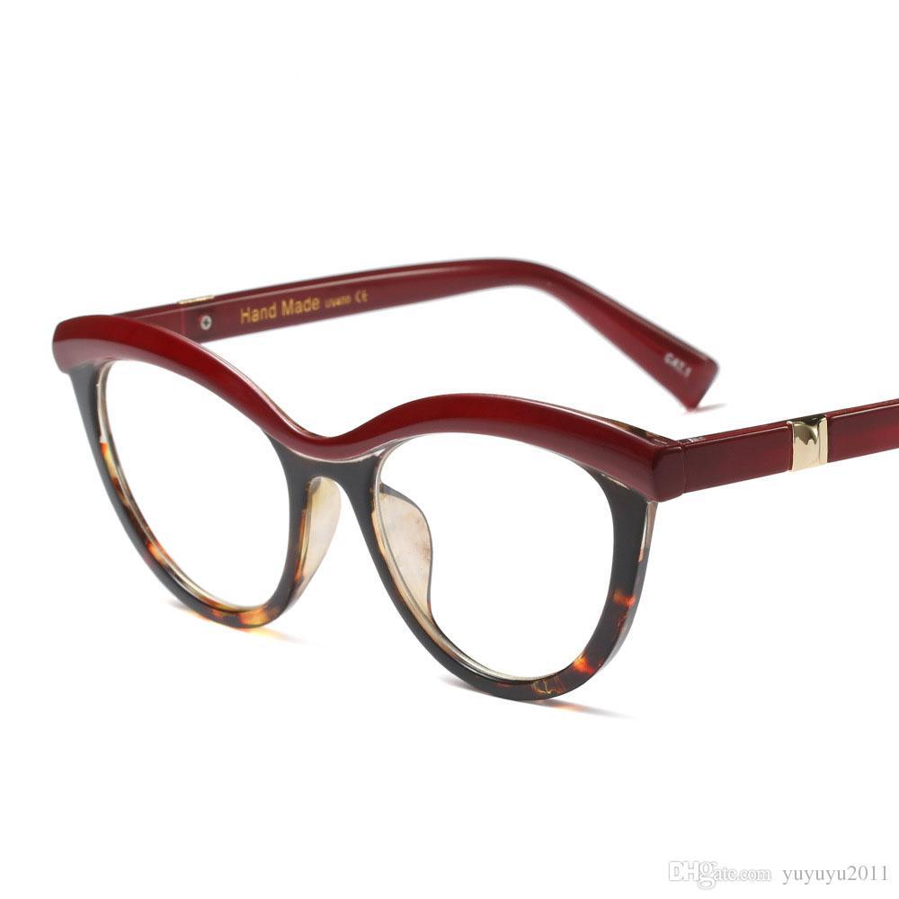Moda kedi gözü şeffaf lens kadın Amber ultra-hafif siyah göz gözlük çerçeve şeffaf optik gözlük marka Gözlük UV