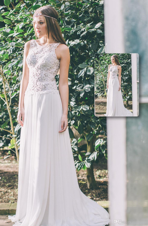 Amazing White Top Lace Modest Wedding Dresses Boat Neck Floor Length