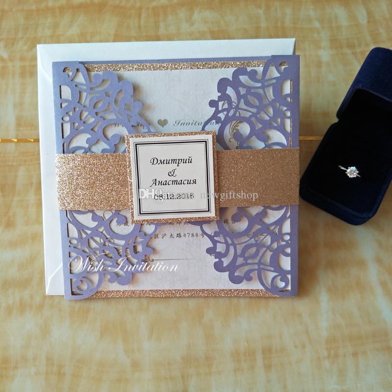 Grosshandel 20 Color Customized Hochzeits Einladungskarte Mit Gold