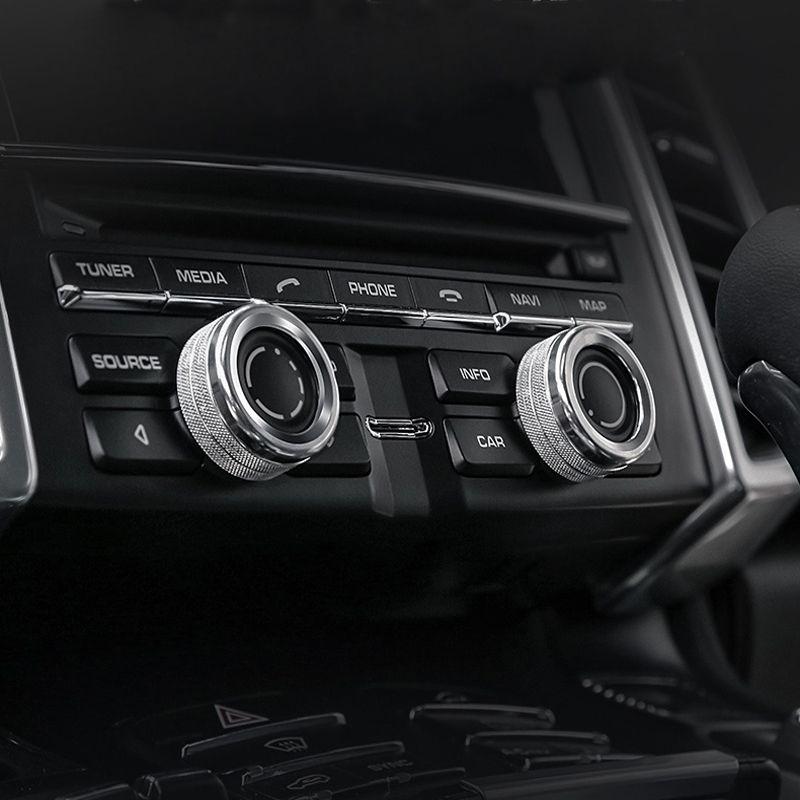 Car Styling Aire Acondicionado Perillas Círculo de audio Anillo de la cubierta de ajuste Para Porsche Macan Cayenne Panamera Auto Accesorios