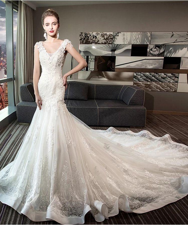 Beautiful 2018 New Wedding Dresses Strapless Sweep Train Wedding Gowns Bridal Wear Best Wave Details Vestidos de Novia A-Line Dresses