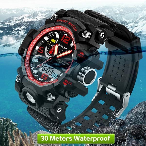 03aa0d317 Compre Nova Marca SANDA G Estilo Homens Militar Relógio Digital À Prova D   Água Esporte Choque Multifunções Relógios LED Relógio Digital Relógio  Homens De ...