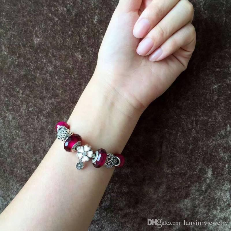 Brand new 925 sterling silver jewelry fancy charm red beads bracelets vintage classic Europe style for women