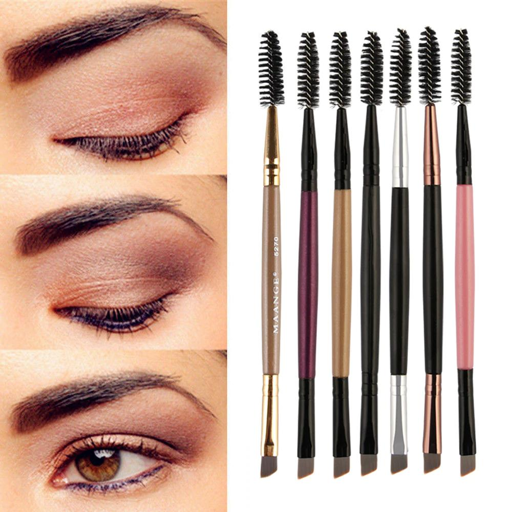 Duo Brow Makeup Brush Wood Handle Double Sided Eyebrow Flat Angled Brushes Brochas Maquillaje Profesional Pinceaux NEW #7