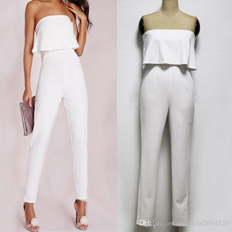 2ee582e3472 2019 Sexy Ladies White Long Jumpsuit Slim Ruffles Strapless Jumpsuits  Rompers Elegant Ladies Party Runway Pants Outfit From Swallow2014520