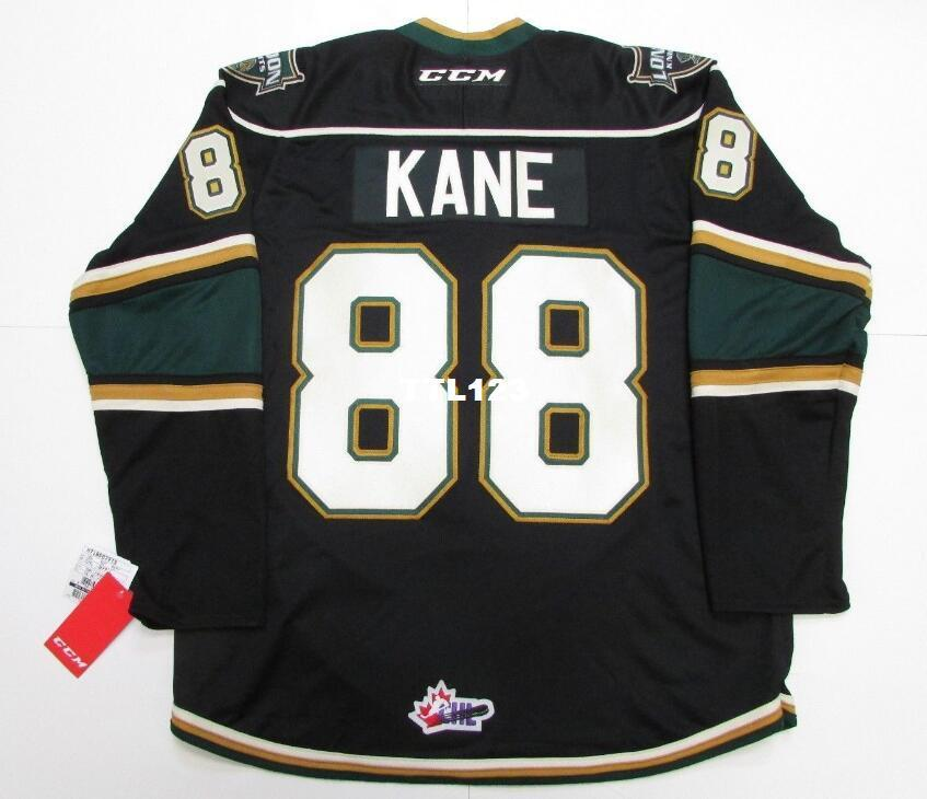 Real Men real Completo ricamo # 88 Patrick Kane Ohl London Knights Premier 7185 Hockey Jersey o personalizzato qualsiasi nome o numero HOCKEY Jersey
