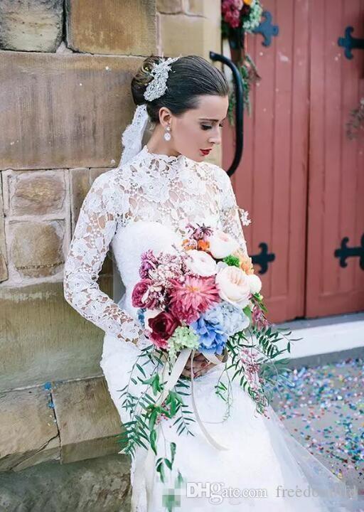 Белые скромные свадебные платья с длинными рукавами Русалка 2017 Урожай с высокой шеей Полная кружевные свадебные платья Элегантное свадебное платье осень-зима