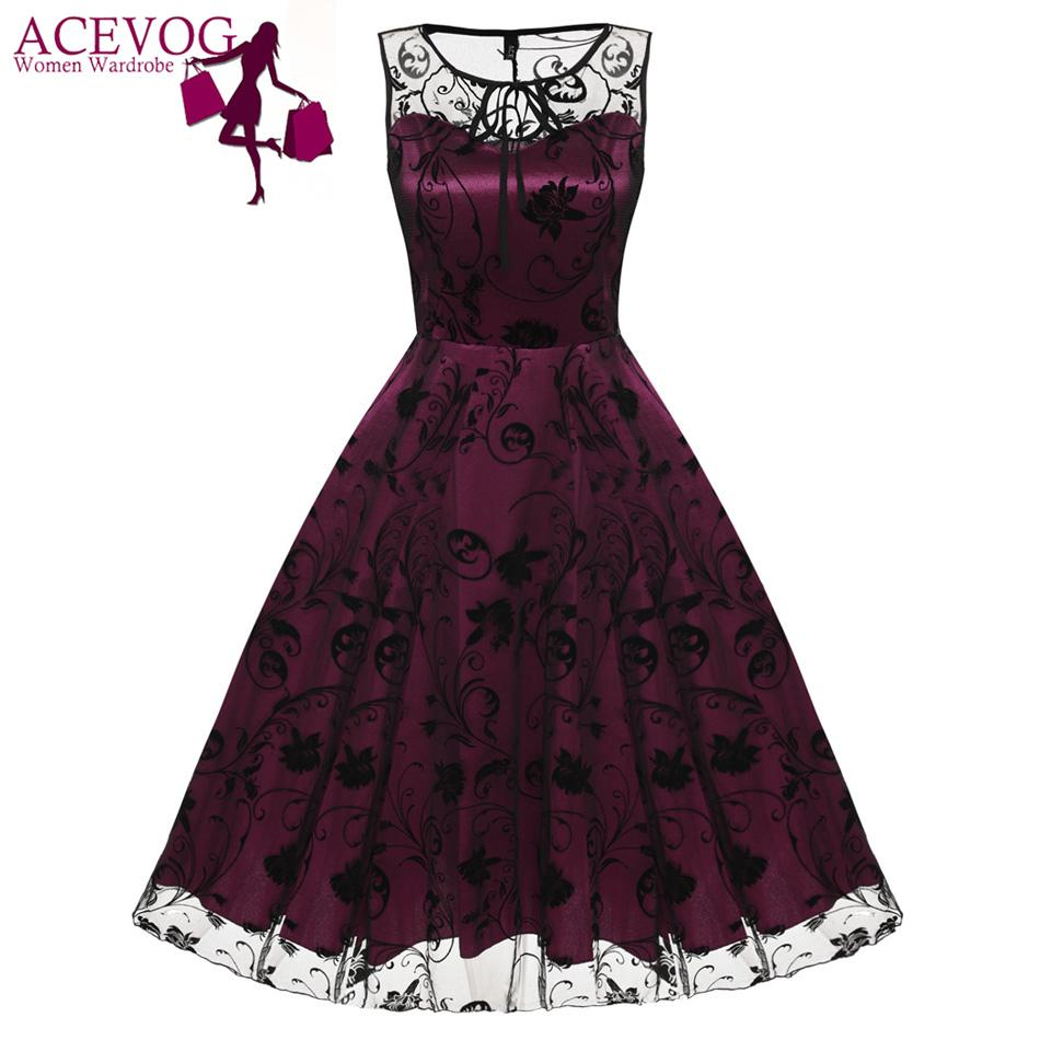 34d5ab1904ae4 ACEVOG Retro Women Vintage Style Sleeveless Mesh Embroidery Long Cocktail  Party Dresses Flower Skull Ball Grown Party Femme Robe Y1891108