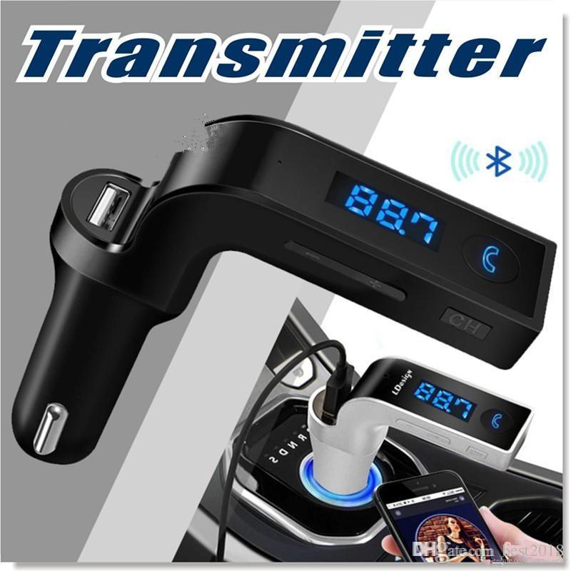 Bluetooth fm verici ile kablosuz araç fm adaptörü araç kiti usb araç şarj ile iphone, samsung, lg, htc android smartphone 200 adet ücretsiz