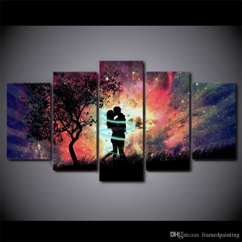 HD Printed 5 Piece Canvas Art Love Couple kiss picture valentine's day Wall Picture for Living Room Free Shipping