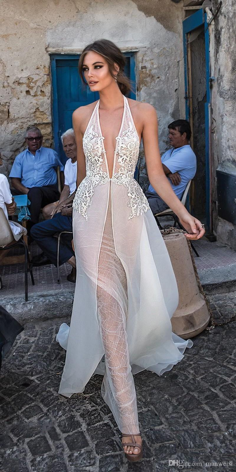 Sexy Halter Profonde V Cou Robes De Mariage Dos Nu Berta 2018 Overskirts Dentelle Appliqued Robes De Mariée Custom Made Robe De Mariage