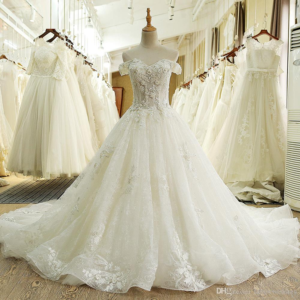 2018 Luxurious Real Photos Ivory Ball Gown Off Shoulder Cathedral ...