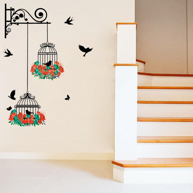 Flower Birdcage Wall Sticker Decal Flying Birds Plants Butterfly ...
