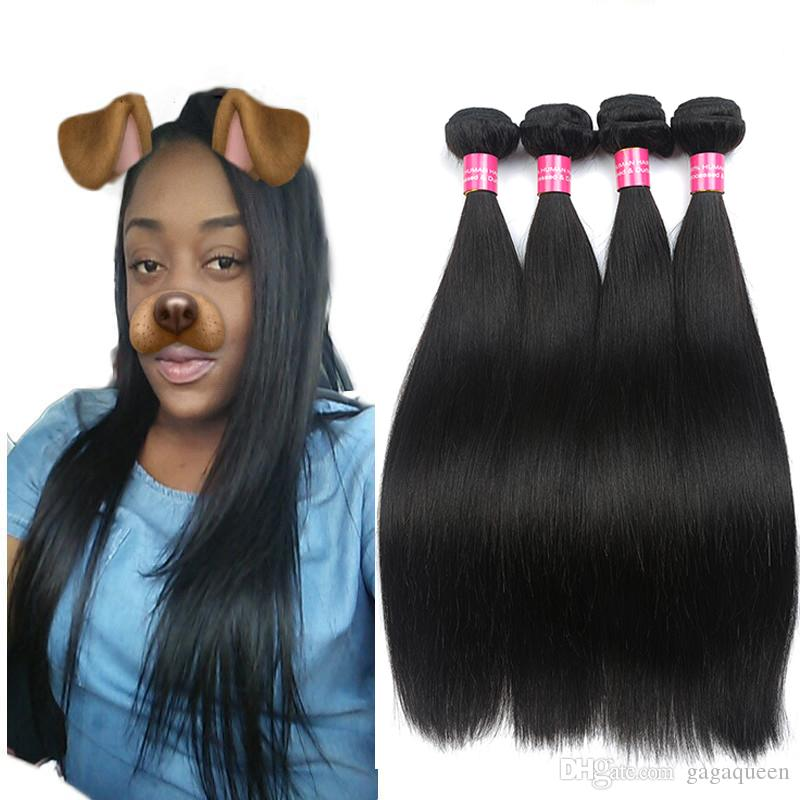 Brazilian Hair Straight Weave Bundles Unprocessed Virgin Brazillian Peruvian Indian Malaysian Straight Remy Human Hair Extensions Soft Full