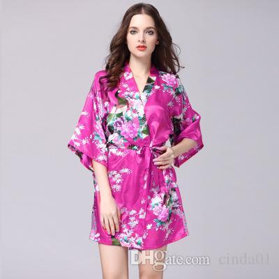 여자를위한 세련된 레이온 여성 미니 Nightdress 핫 섹시한 다섯 Sleeve Pyjama 여름 꽃 프린트 홈 복