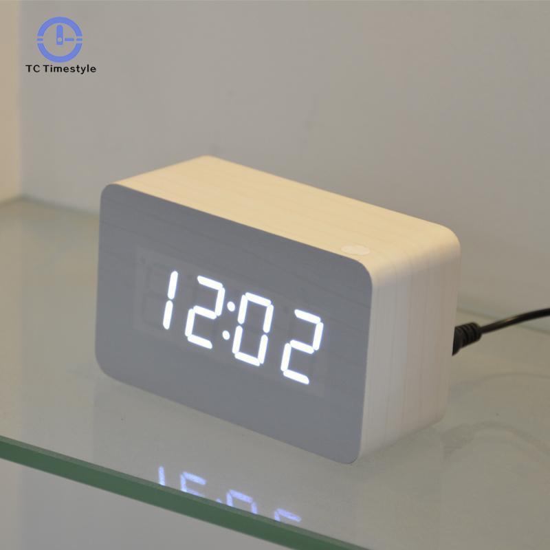 . Modern Design Wooden Led Digital Alarm Clock For Office Bedroom Desktop  Multi function Temperature Wood Led Digital Clocks