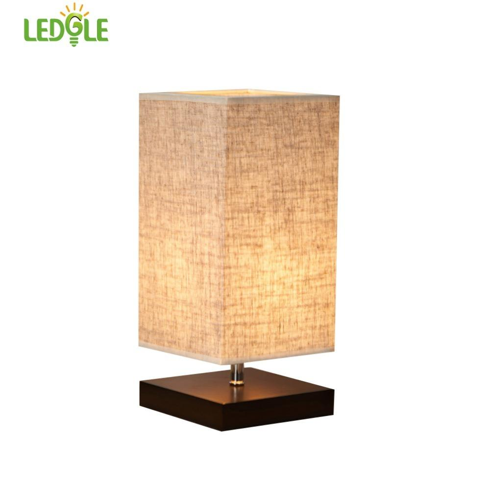 LEDGLE Chic Desk Lamp Decorative Bedside Lamps Kit Square Table Lamp with Linen Lampshade and Wood Base, Universal E27 Socket