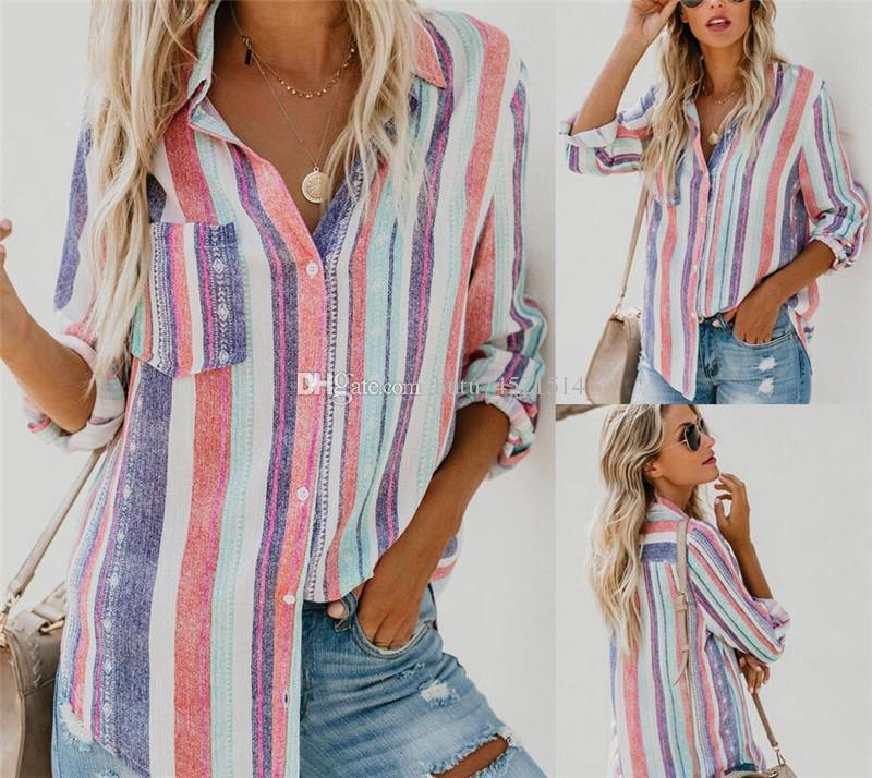 1770193a761 Women Striped Long Sleeve Blouse Shirt Female Loose Blusas Femme Autumn  Fall Casual Ladies Office Blouses Top Sexy Plus Size 2XL Office Blouses  Long Sleeve ...