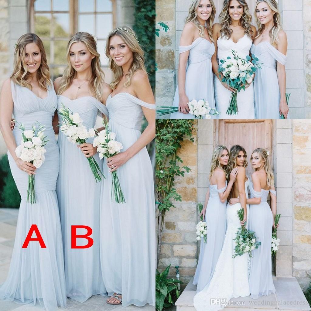 2018 Ice Blue Country Beach Bohemian Vestidos de dama de honor baratos Vestido hasta el suelo Plisado Vestidos de dama de honor Volantes Vestidos formales