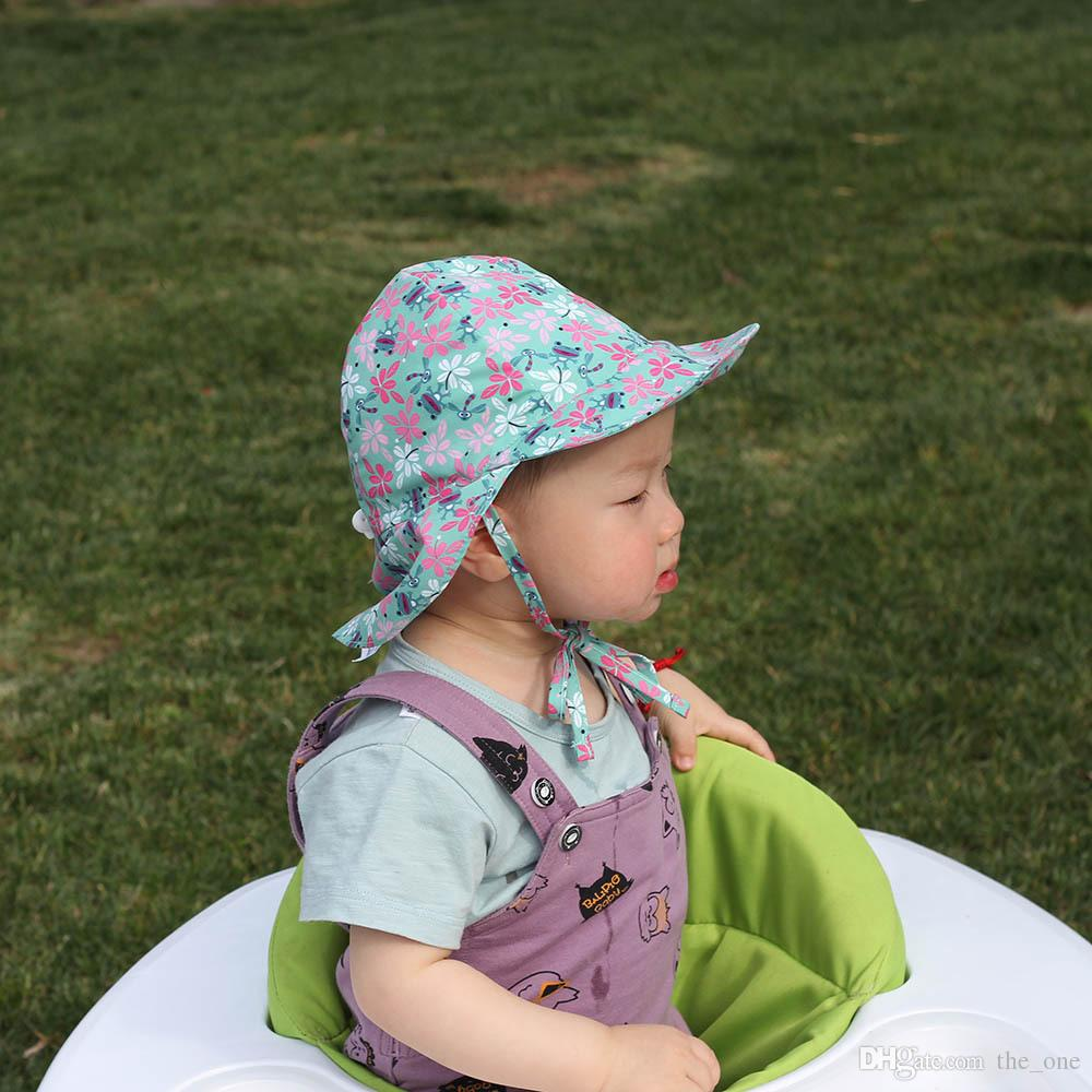 Baby Kids Summer Sun Visor Infant Floral Print Big Brim Caps Cute Cartoon Neck Ear Protection Hats Fast Dry Breathable 2 Sizes